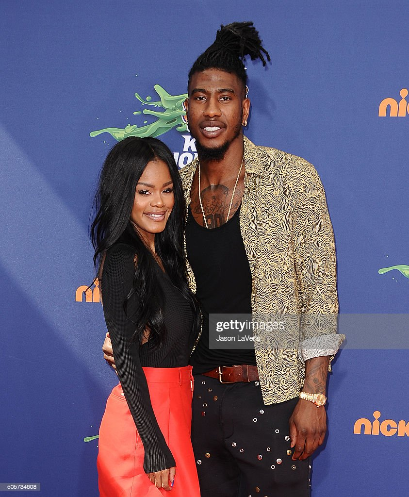 <a gi-track='captionPersonalityLinkClicked' href=/galleries/search?phrase=Teyana+Taylor&family=editorial&specificpeople=4224306 ng-click='$event.stopPropagation()'>Teyana Taylor</a> and NBA player <a gi-track='captionPersonalityLinkClicked' href=/galleries/search?phrase=Iman+Shumpert&family=editorial&specificpeople=5042486 ng-click='$event.stopPropagation()'>Iman Shumpert</a> attend the Nickelodeon Kids' Choice Sports Awards at UCLA's Pauley Pavilion on July 16, 2015 in Westwood, California.