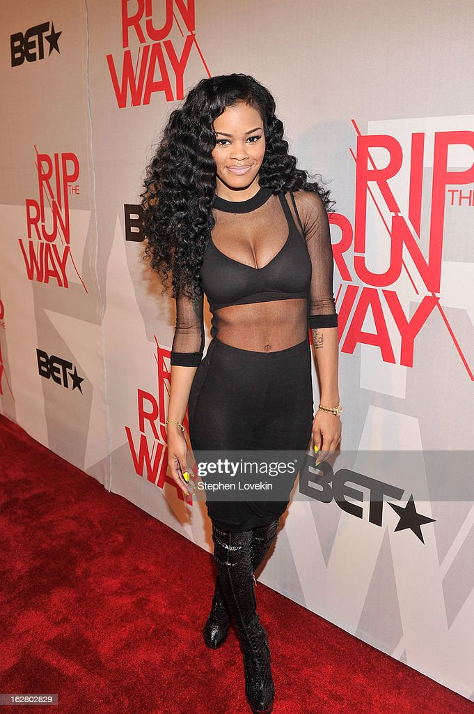 <a gi-track='captionPersonalityLinkClicked' href=/galleries/search?phrase=Teyana+Taylor&family=editorial&specificpeople=4224306 ng-click='$event.stopPropagation()'>Teyana Taylor</a> attends BET's Rip The Runway 2013:Red Carpet at Hammerstein Ballroom on February 27, 2013 in New York City.