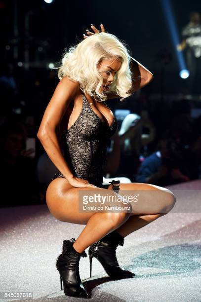 Teyana Taylor performs at the Philipp Plein fashion show during New York Fashion Week The Shows at Hammerstein Ballroom on September 9 2017 in New...