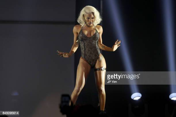 Teyana Taylor performs at the runway at the Philipp Plein fashion show during New York Fashion Week The Shows at Hammerstein Ballroom on September 9...