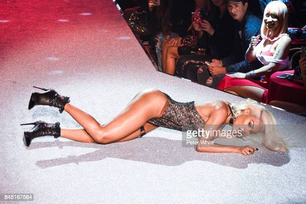 Teyana Taylor performs on the runway at the Philipp Plein fashion show during New York Fashion Week The Shows at Hammerstein Ballroom on September 9...