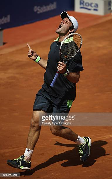 Teymuraz Gabashvili of Russia celebrates defeating David Ferrer of Spain during day three of the ATP Barcelona Open Banc Sabadell at the Real Club de...