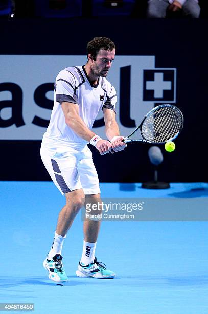 Teymuraz Gabashvili of Russia in action during the second day of the Swiss Indoors ATP 500 tennis tournament against Marin Cilic of Croatia at St...