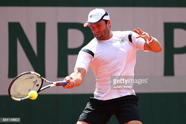 Teymuraz Gabashvili of Russia plays a forehand during the Men's Singles second round match against Benoit Paire of France on day four of the 2016...