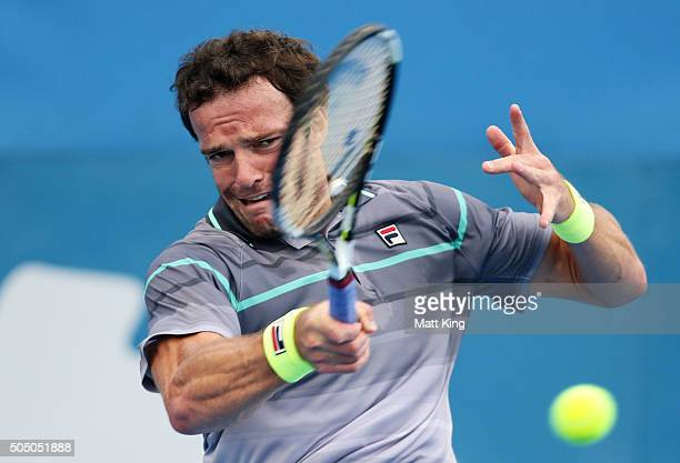 Teymuraz Gabashvili of Russia plays a forehand in his semi final match against Viktor Troicki of Serbia during day six of the 2016 Sydney...