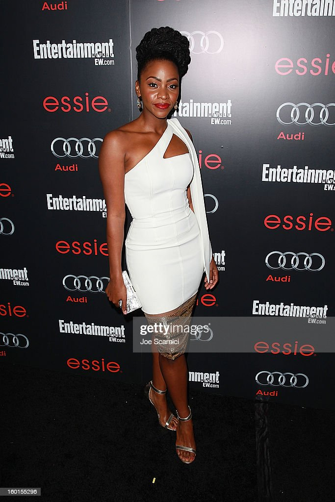 <a gi-track='captionPersonalityLinkClicked' href=/galleries/search?phrase=Teyonah+Parris&family=editorial&specificpeople=7353606 ng-click='$event.stopPropagation()'>Teyonah Parris</a> arrives at Entertainment Weekly Screen Actors Guild Awards Pre-Party at Chateau Marmont on January 26, 2013 in Los Angeles, California.