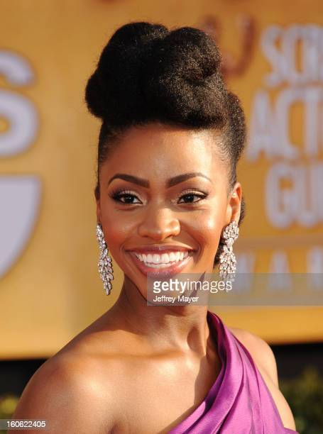 Teyonah Parris arrives at the 19th Annual Screen Actors Guild Awards at the Shrine Auditorium on January 27 2013 in Los Angeles California