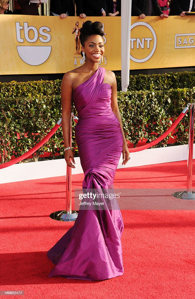 Teyonah Parris arrives at the 19th Annual Screen Actors Guild Awards at the Shrine Auditorium on January 27, 2013 in Los Angeles, California.
