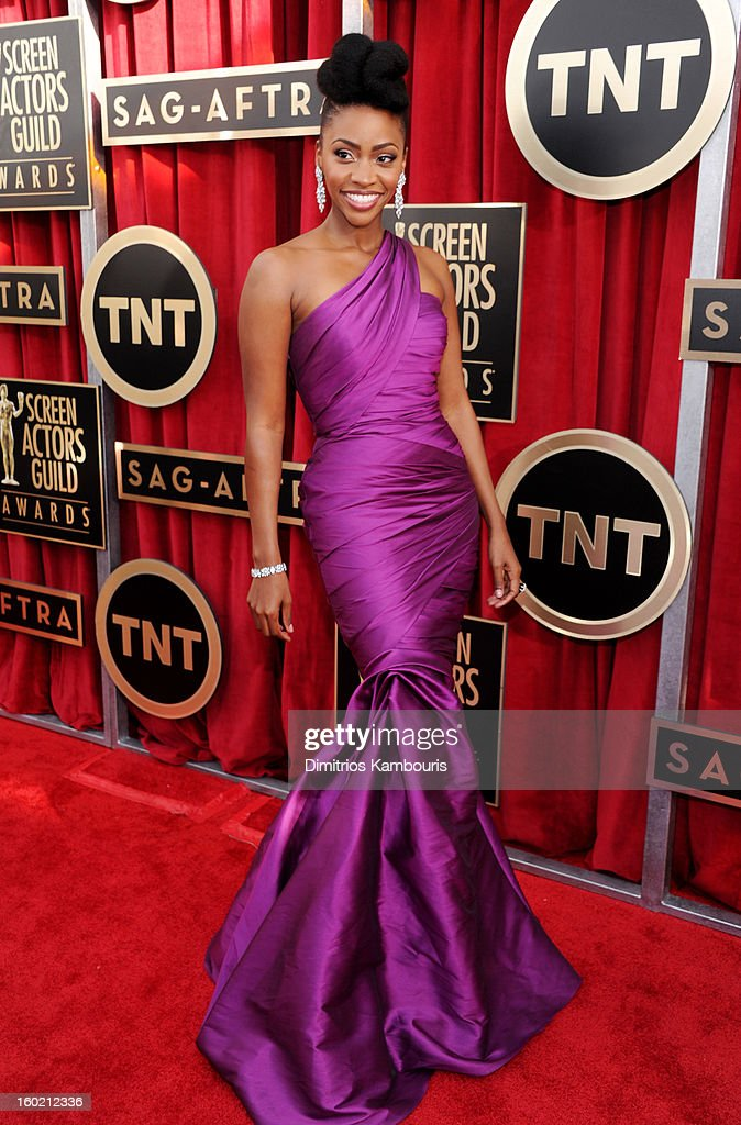 Teyonah Parris attends the 19th Annual Screen Actors Guild Awards at The Shrine Auditorium on January 27, 2013 in Los Angeles, California. (Photo by Dimitrios Kambouris/WireImage) 23116_013_0482.JPG