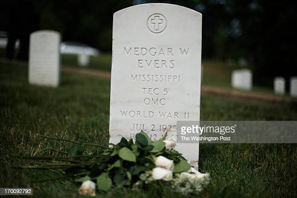 Th gravesite of Medgar Wiley Evers at Arlington National Cemetery in Arlington Virginia on June 05 2013 Medgar Evers the NAACP's first field...