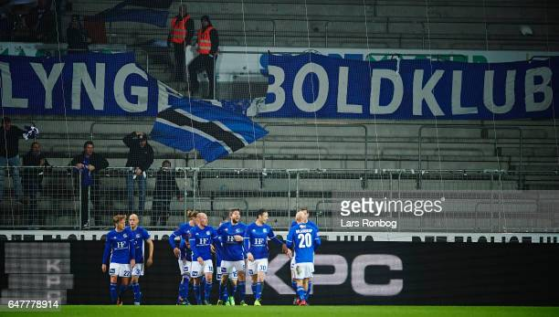 Th players of Lyngby BK celebrate after the 10 goal by Jeppe Kjar during the Danish Alka Superliga match between FC Midtjylland and Lyngby BK at MCH...