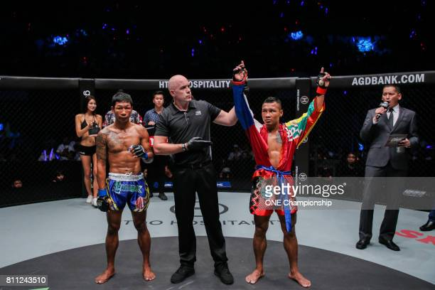 Tha Pyay Nyo knocked out Htet Aung Oo in just 16 seconds during ONE Championship Light Of A Nation at the Thuwunna Indoor Stadium on June 30 2017 in...
