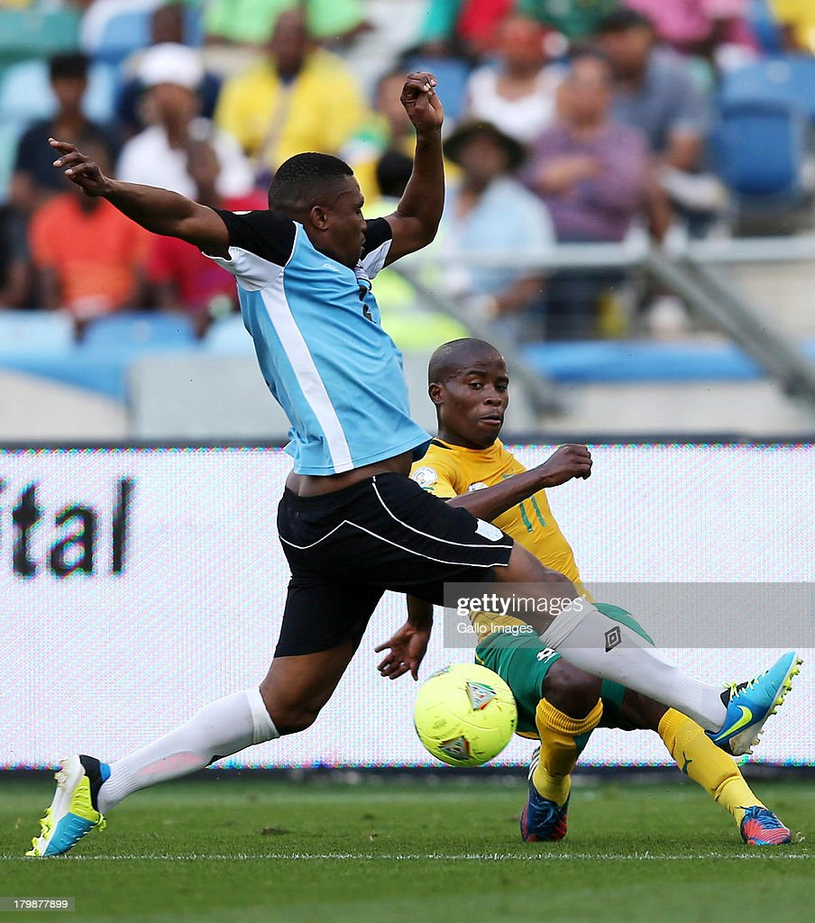 Thabo Matlaba of South Africa crosses the ball during the 2014 FIFA World Cup Qualifier match between South Africa and Botswana from Moses Mabhida Stadium on September 07, 2013 in Durban, South Africa.