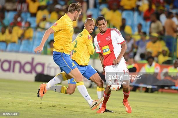 Thabo Nthethe Alje Schut of Mamelodi Sundowns and Tashreeq Losper of Ajax Cape Town during the Absa Premiership match between Mamelodi Sundowns and...