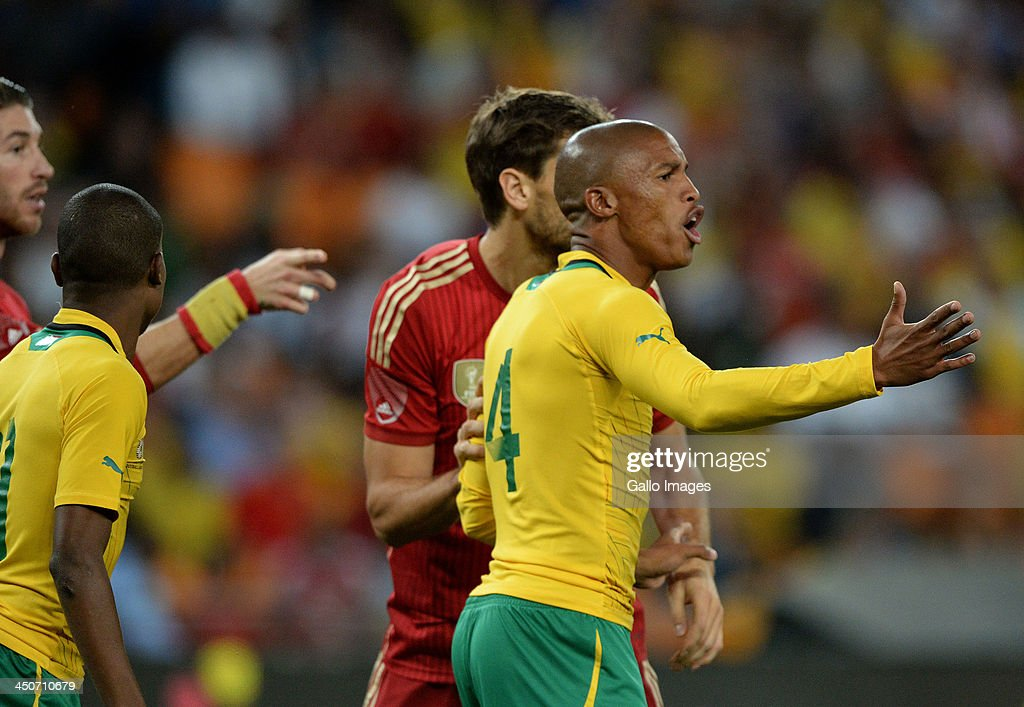 Thabo Nthethe of South Africa calls for the ball during the International friendly match between South Africa and Spain at Soccer City Stadium on November 19, 2013 in Johannesburg, South Africa.