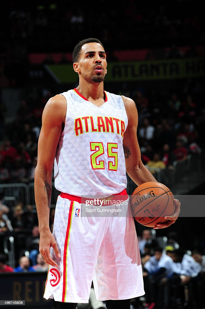 Thabo Sefolosha of the Atlanta Hawks prepares to shoot against the New Orleans Pelicans during the game on November 11 2015 at Philips Arena in...