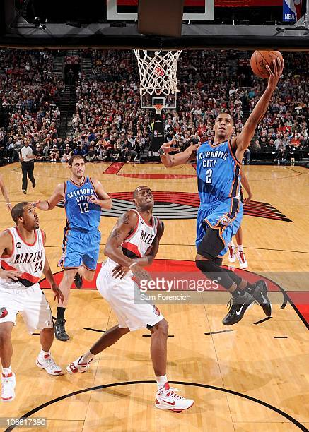 Thabo Sefolosha of the Oklahoma City Thunder against the Portland Trail Blazers on November 4 2010 at the Rose Garden Arena in Portland Oregon NOTE...