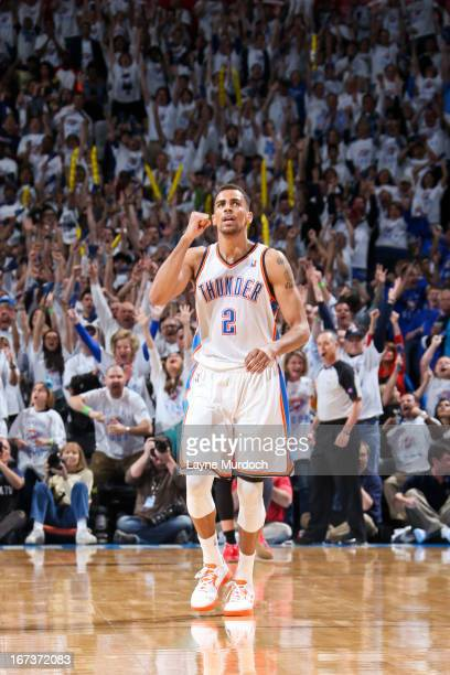 Thabo Sefolosha of the Oklahoma City Thunder celebrates after making a threepointer late in the fourth quarter against the Houston Rockets in Game...