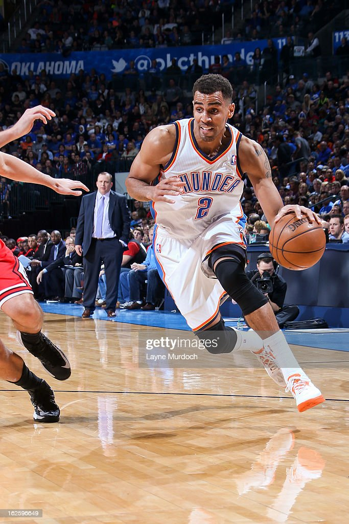 <a gi-track='captionPersonalityLinkClicked' href=/galleries/search?phrase=Thabo+Sefolosha&family=editorial&specificpeople=587449 ng-click='$event.stopPropagation()'>Thabo Sefolosha</a> #2 of the Oklahoma City Thunder drives against the Chicago Bulls on February 24, 2013 at the Chesapeake Energy Arena in Oklahoma City, Oklahoma.