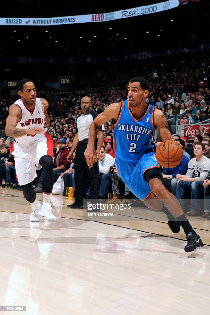 <a gi-track='captionPersonalityLinkClicked' href=/galleries/search?phrase=Thabo+Sefolosha&family=editorial&specificpeople=587449 ng-click='$event.stopPropagation()'>Thabo Sefolosha</a> #2 of the Oklahoma City Thunder drives to the basket against the Toronto Raptors on January 6, 2013 at the Air Canada Centre in Toronto, Ontario, Canada.