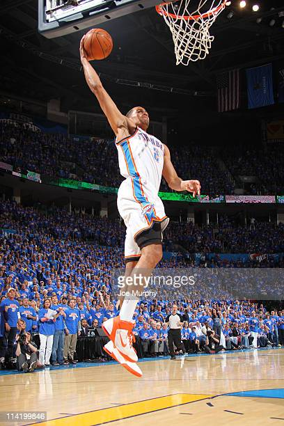 Thabo Sefolosha of the Oklahoma City Thunder dunks against the Memphis Grizzlies during Game Seven of the Western Conference Semifinals in the 2011...