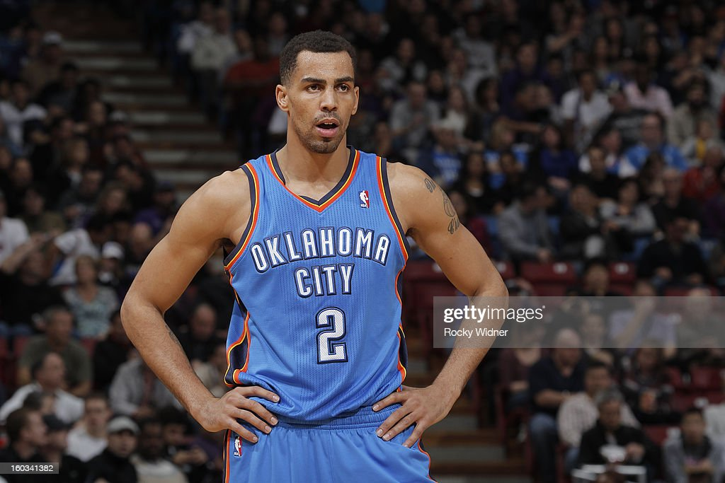 <a gi-track='captionPersonalityLinkClicked' href=/galleries/search?phrase=Thabo+Sefolosha&family=editorial&specificpeople=587449 ng-click='$event.stopPropagation()'>Thabo Sefolosha</a> #2 of the Oklahoma City Thunder in a game against the Sacramento Kings on January 25, 2013 at Sleep Train Arena in Sacramento, California.