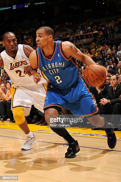 Thabo Sefolosha of the Oklahoma City Thunder makes a move to the basket against Kobe Bryant of the Los Angeles Lakers in Game One of the Western...