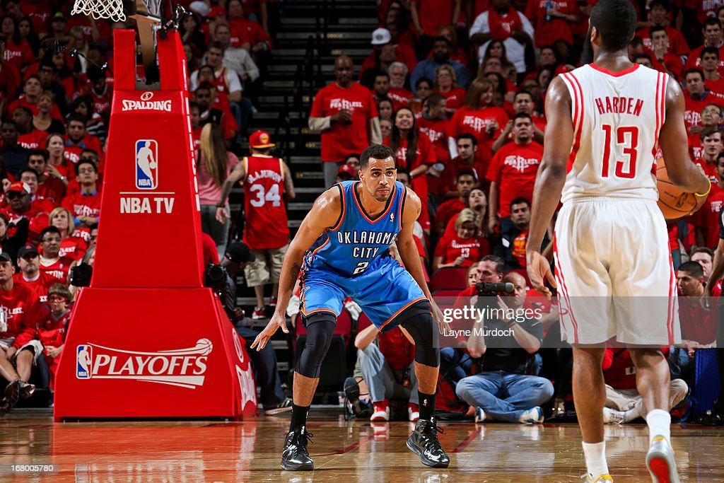 Thabo Sefolosha #2 of the Oklahoma City Thunder plays defense against James Harden #13 of the Houston Rockets in Game Six of the Western Conference Quarterfinals during the 2013 NBA Playoffs on May 3, 2013 at the Toyota Center in Houston, Texas.