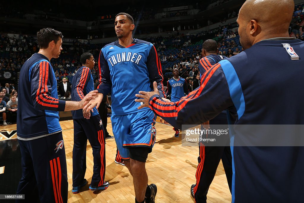 <a gi-track='captionPersonalityLinkClicked' href=/galleries/search?phrase=Thabo+Sefolosha&family=editorial&specificpeople=587449 ng-click='$event.stopPropagation()'>Thabo Sefolosha</a> #25 of the Oklahoma City Thunder runs out before the game against the Minnesota Timberwolves on November 1, 2013 at Target Center in Minneapolis, Minnesota.
