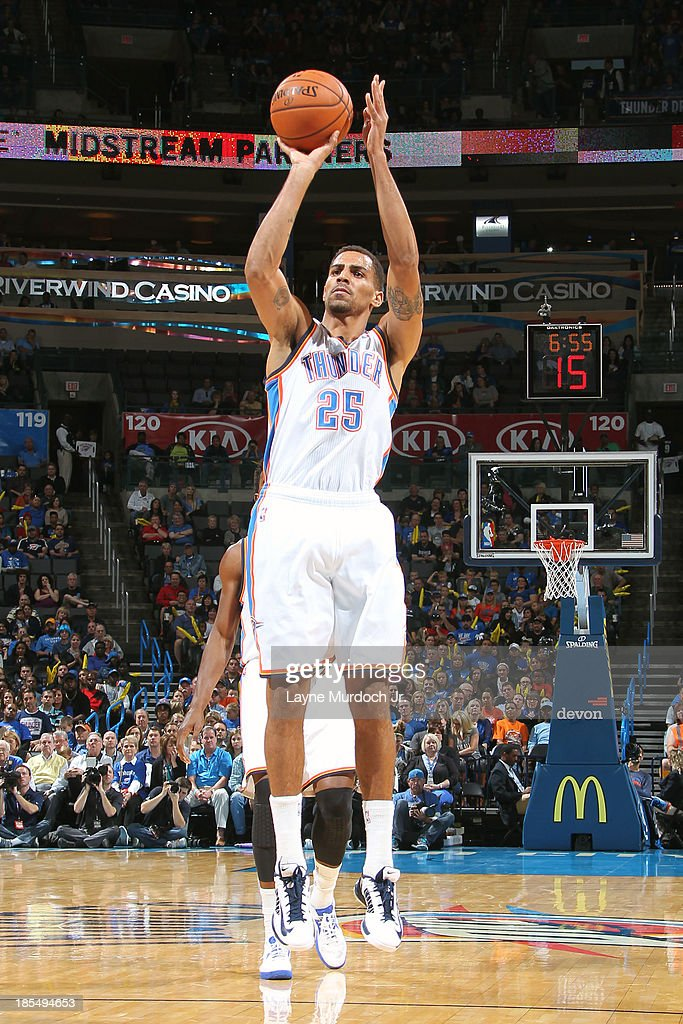 <a gi-track='captionPersonalityLinkClicked' href=/galleries/search?phrase=Thabo+Sefolosha&family=editorial&specificpeople=587449 ng-click='$event.stopPropagation()'>Thabo Sefolosha</a> #25 of the Oklahoma City Thunder shoots a jumper against the Utah Jazz during an NBA preseason game on October 20, 2013 at the Chesapeake Energy Arena in Oklahoma City, Oklahoma.