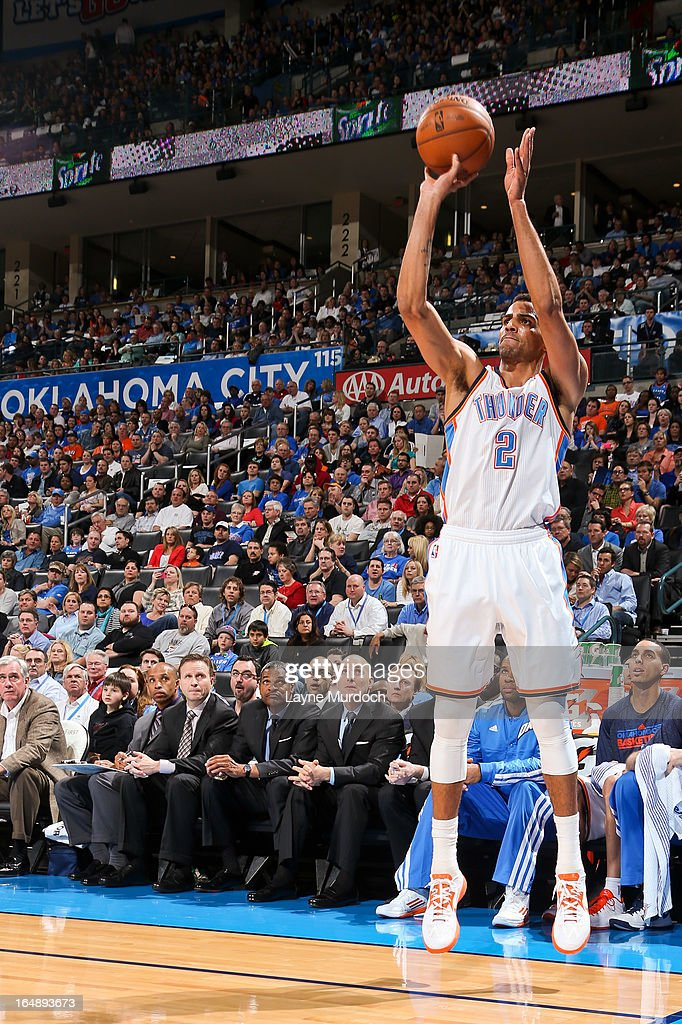<a gi-track='captionPersonalityLinkClicked' href=/galleries/search?phrase=Thabo+Sefolosha&family=editorial&specificpeople=587449 ng-click='$event.stopPropagation()'>Thabo Sefolosha</a> #2 of the Oklahoma City Thunder shoots a three-pointer against the Washington Wizards on March 27, 2013 at the Chesapeake Energy Arena in Oklahoma City, Oklahoma.