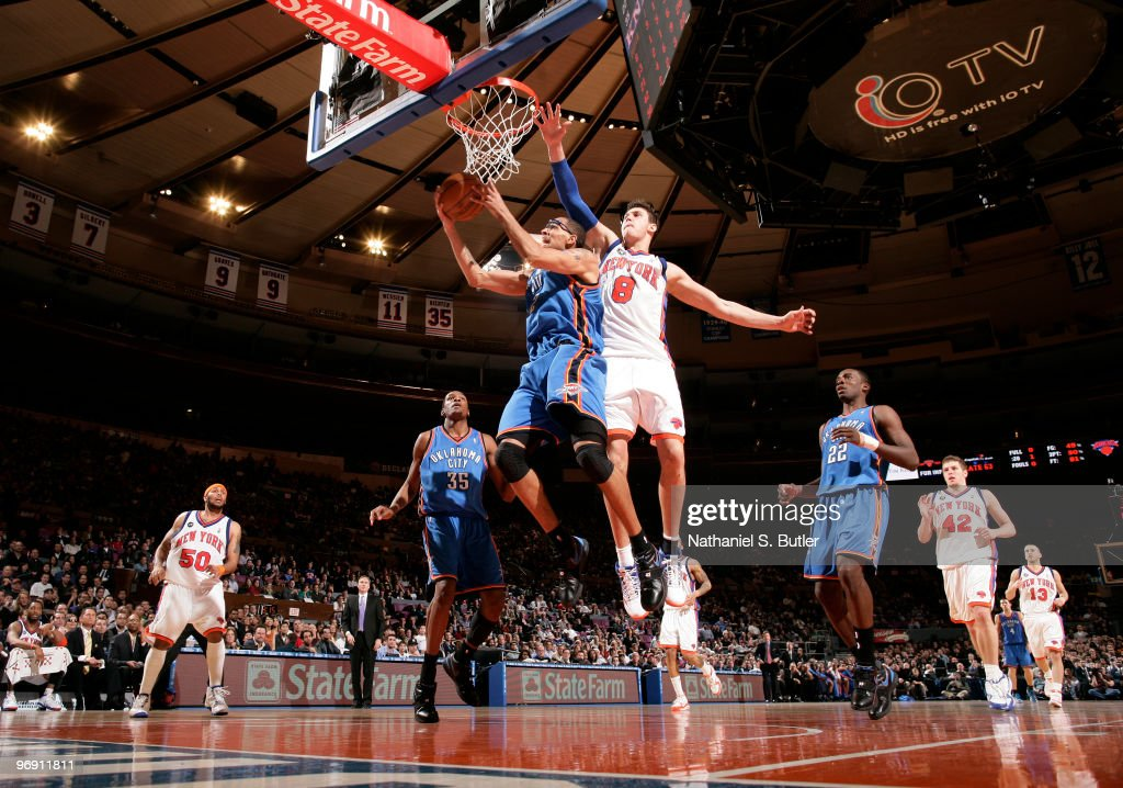 Thabo Sefolosha #2 of the Oklahoma City Thunder shoots against Danilo Gallinari #8 of the New York Knicks on February 20, 2010 at Madison Square Garden in New York City.