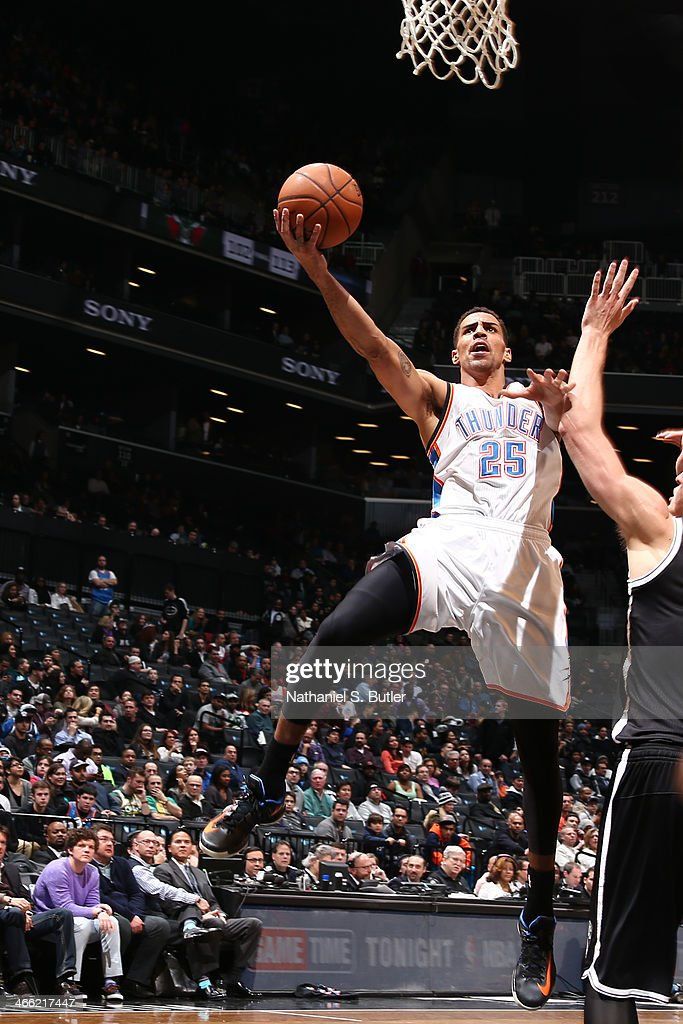<a gi-track='captionPersonalityLinkClicked' href=/galleries/search?phrase=Thabo+Sefolosha&family=editorial&specificpeople=587449 ng-click='$event.stopPropagation()'>Thabo Sefolosha</a> #25 of the Oklahoma City Thunder shoots against the Brooklyn Nets at the Barclays Center on January 31, 2014 in the Brooklyn borough of New York City.