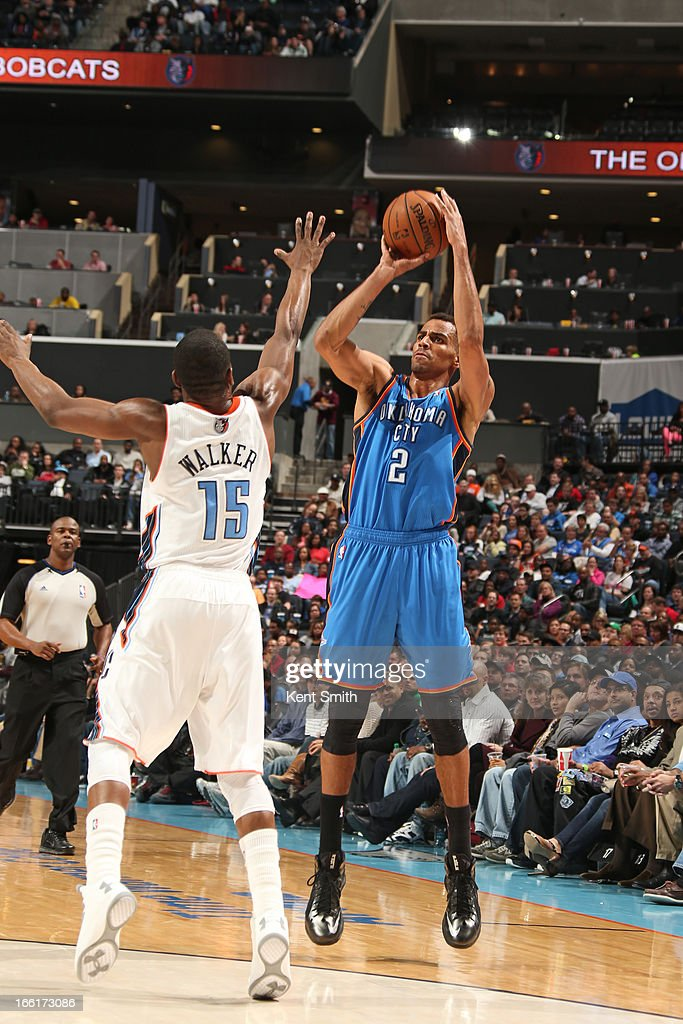 Thabo Sefolosha #2 of the Oklahoma City Thunder takes a shot against the Charlotte Bobcats at the Time Warner Cable Arena on March 8, 2013 in Charlotte, North Carolina.