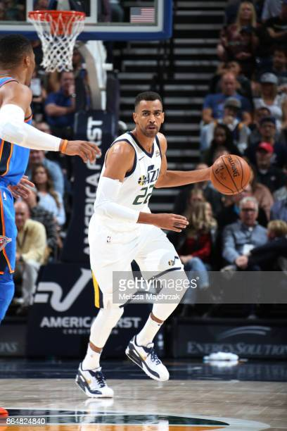 Thabo Sefolosha of the Utah Jazz handles the ball against the Oklahoma City Thunder during the game on October 21 2017 at vivintSmartHome Arena in...