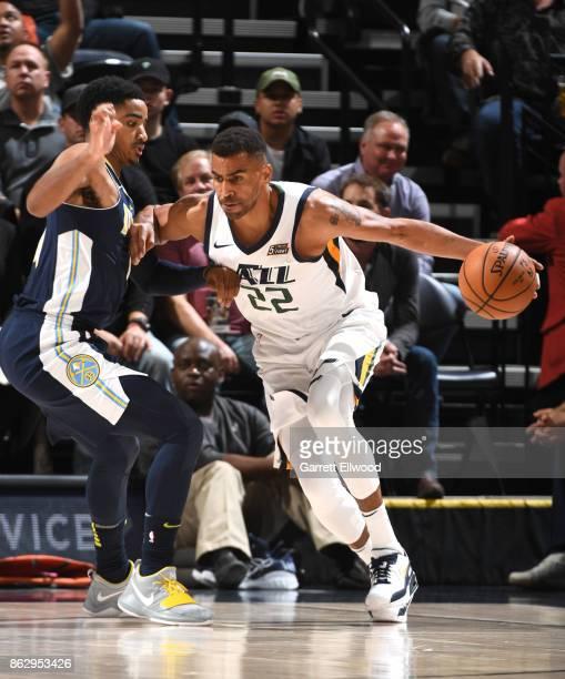 Thabo Sefolosha of the Utah Jazz handles the ball against the Denver Nuggets during the game on October 18 2017 at vivintSmartHome Arena in Salt Lake...