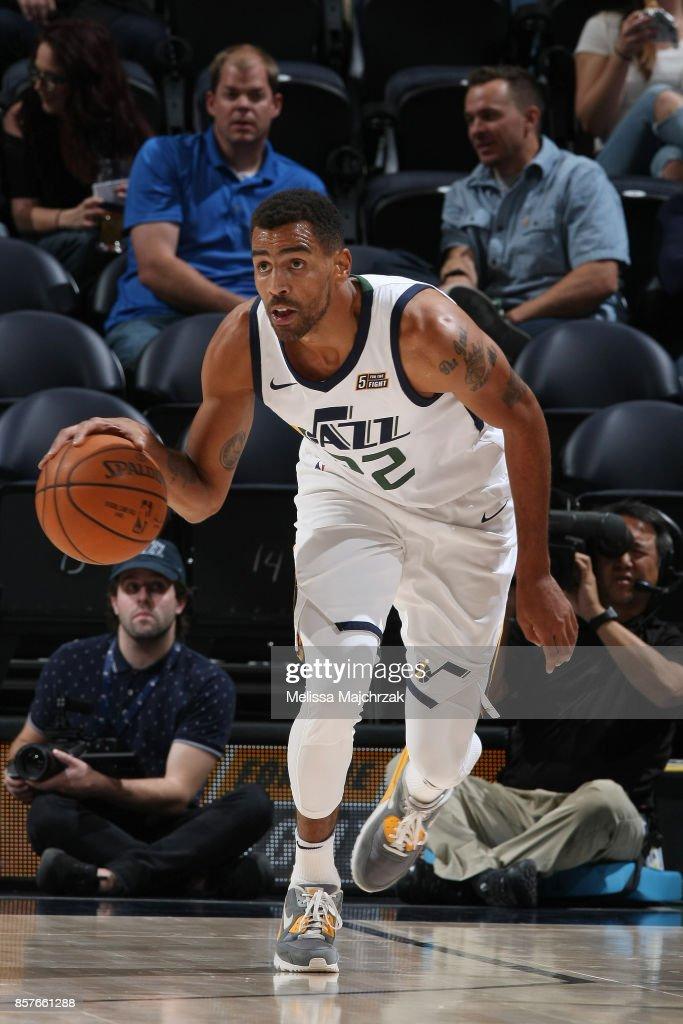 Thabo Sefolosha #22 of the Utah Jazz handles the ball against the Maccabi Haifa during a preseason game on October 4, 2017 at vivint.SmartHome Arena in Salt Lake City, Utah.