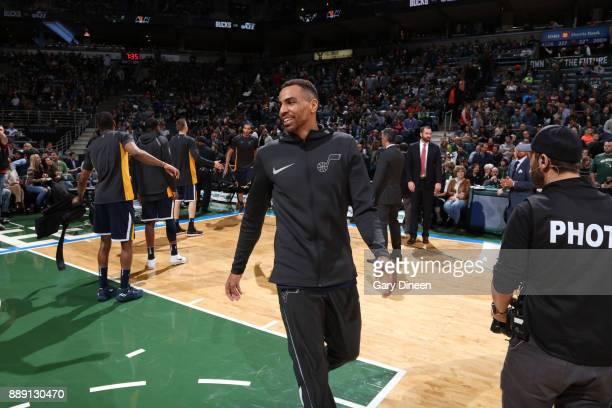 Thabo Sefolosha of the Utah Jazz is seen before the game against the Milwaukee Bucks on December 9 2017 at the BMO Harris Bradley Center in Milwaukee...