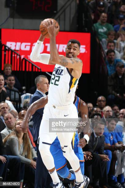 Thabo Sefolosha of the Utah Jazz passes the ball against the Oklahoma City Thunder during the game on October 21 2017 at vivintSmartHome Arena in...