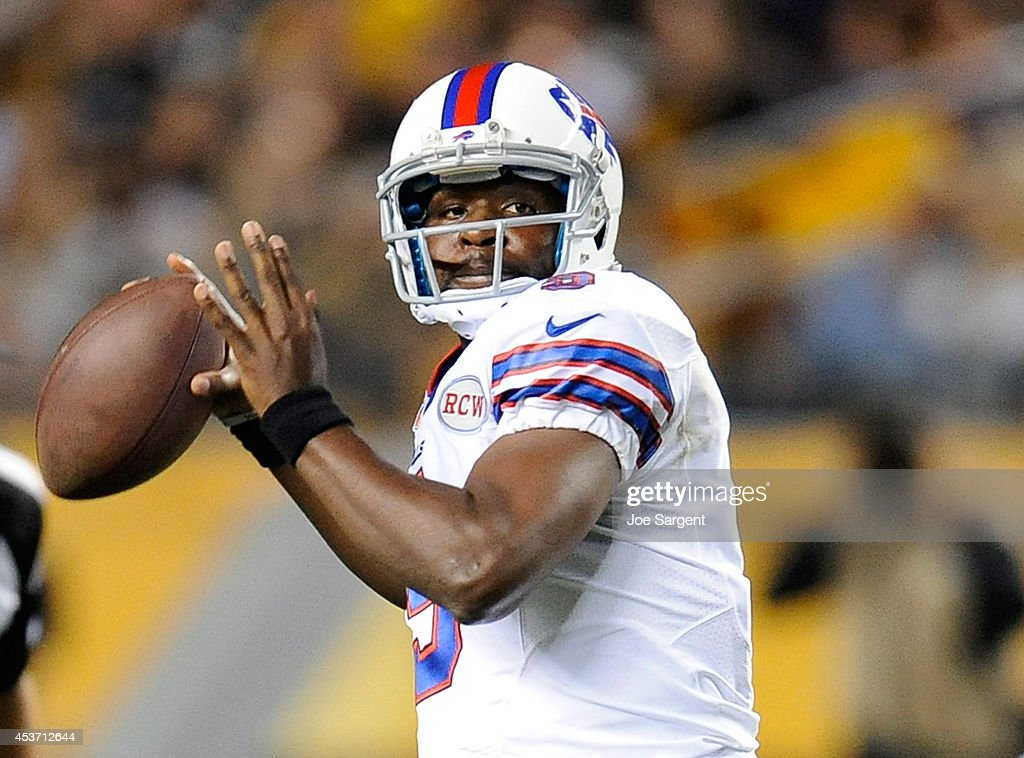 Thad Lewis #9 of the Buffalo Bills drops back to pass during the third quarter against the Pittsburgh Steelers at Heinz Field on August 16, 2014 in Pittsburgh, Pennsylvania.