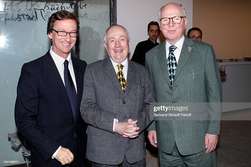 Thaddaeus Ropac and artists Gilbert And George attend the opening of Ropac's new gallery on October 13, 2012 in Pantin, France.