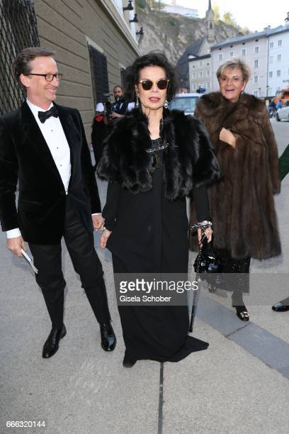 Thaddaeus Ropac Bianca Jagger and Gloria von Thurn und Taxis during the opening of the Easter Festival 2017 'Walkuere' opera premiere on April 8 2017...