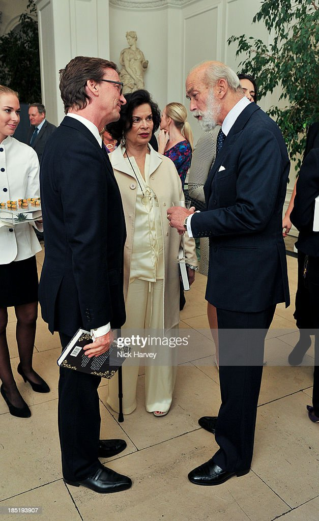 Thaddaeus Ropac, Princess Michael Of Kent and Bianca Jagger attend the book launch party for 'The Queen Of Four Kingdoms' by Princess Michael of Kent at The Orangery on October 17, 2013 in London, England.