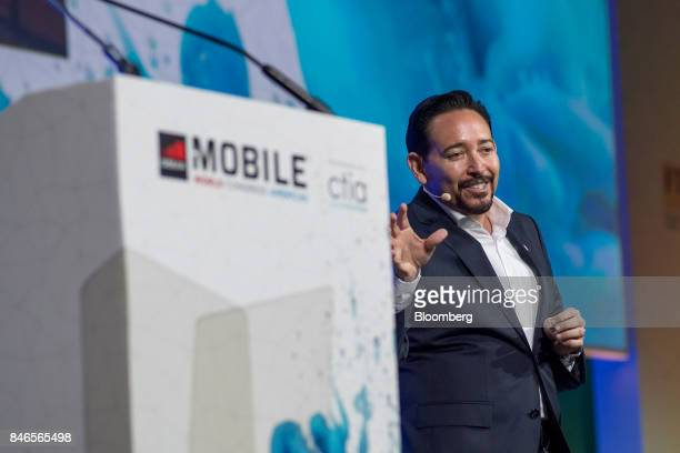 Thaddeus Arroyo chief executive officer of business solutions and international for ATT Inc speaks during the Mobile World Conference Americas event...