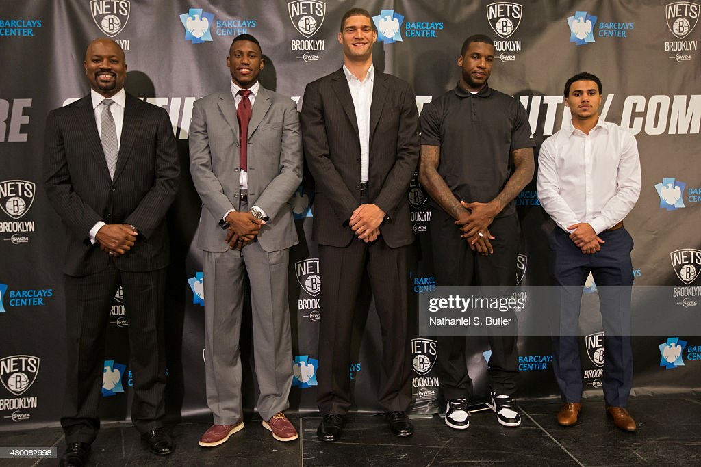 Thaddeus Young Brook Lopez Thomas Robinson and Shane Larkin of the Brooklyn Nets attend a press conference on July 09 2015 at Barclays Center in...