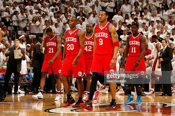 Thaddeus Young Jodie Meeks Elton Brand Jrue Holiday and Andre Iguodala of the Philadelphia 76ers look dejected during a game against the Miami Heat...
