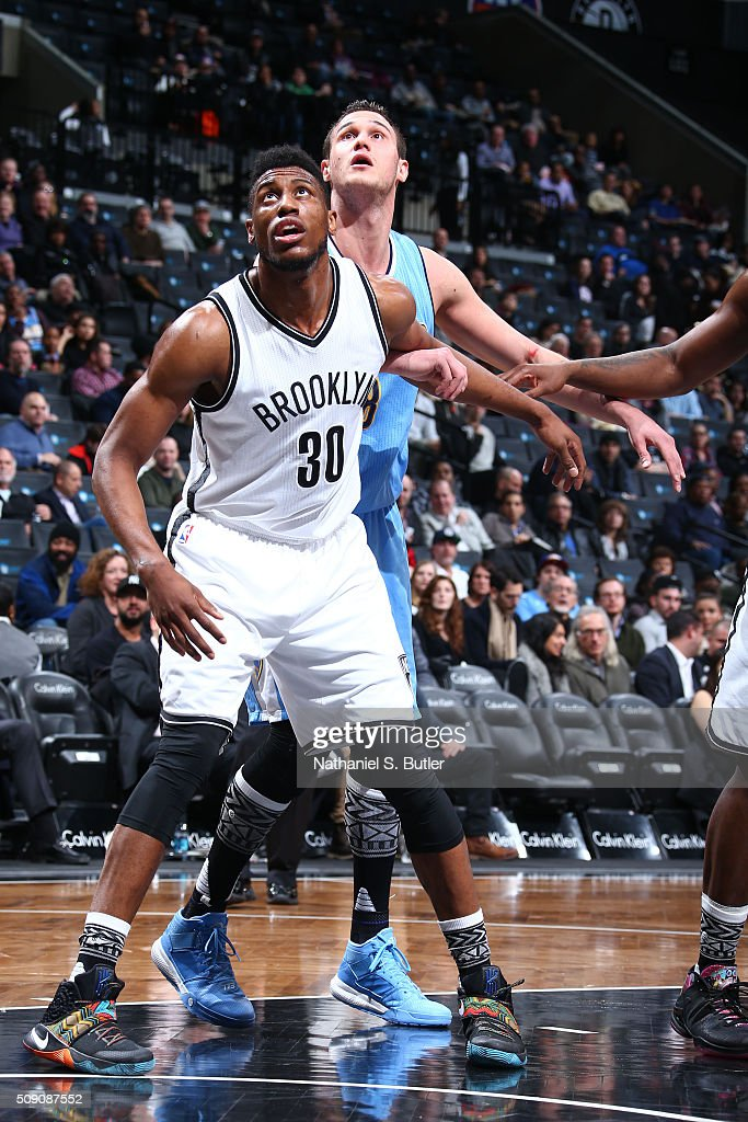 <a gi-track='captionPersonalityLinkClicked' href=/galleries/search?phrase=Thaddeus+Young&family=editorial&specificpeople=3847270 ng-click='$event.stopPropagation()'>Thaddeus Young</a> #30 of the Brooklyn Nets defends the basket against the Denver Nuggets during the game on February 8, 2016 at Barclays Center in Brooklyn, New York.