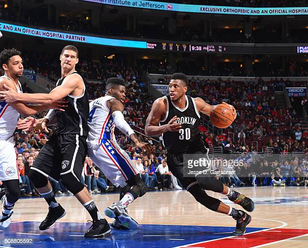 Thaddeus Young of the Brooklyn Nets drives to the basket against the Philadelphia 76ers at Wells Fargo Center on February 6 2016 in Philadelphia...
