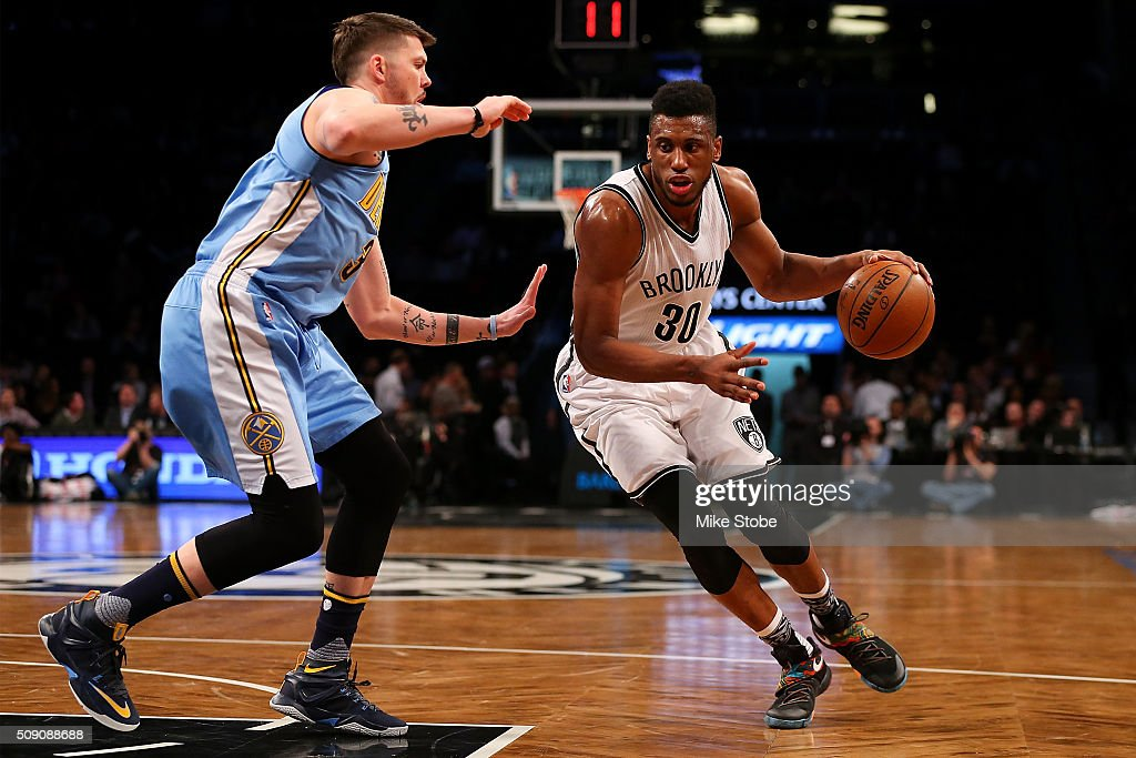 <a gi-track='captionPersonalityLinkClicked' href=/galleries/search?phrase=Thaddeus+Young&family=editorial&specificpeople=3847270 ng-click='$event.stopPropagation()'>Thaddeus Young</a> #30 of the Brooklyn Nets drives to the net against the Denver Nuggets at the Barclays Center on February 8, 2016 in Brooklyn borough of New York City.