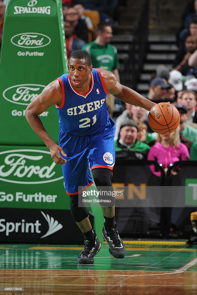 <a gi-track='captionPersonalityLinkClicked' href=/galleries/search?phrase=Thaddeus+Young&family=editorial&specificpeople=3847270 ng-click='$event.stopPropagation()'>Thaddeus Young</a> #21 of the Philadelphia 76ers dribbles the ball against the Boston Celtics on April 4, 2014 at the TD Garden in Boston, Massachusetts.